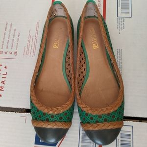 Sperry Elise perforated Green & Tan Ballet Flats